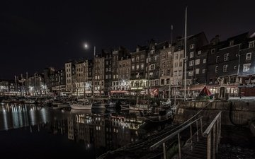 night, lights, boats, home, france, normandy, honfleur, the old harbour