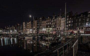 ночь, огни, лодки, дома, франция, нормандия, онфлёр, старая гавань