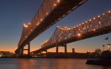 ночь, огни, сша, мосты, новый орлеан, луизиана, crescent city connection