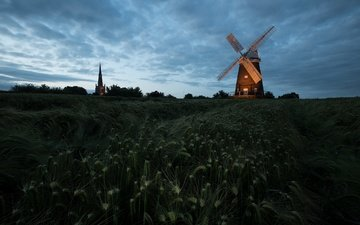 the sky, clouds, night, field, mill, ears