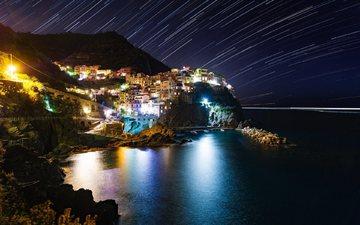 ночь, звезды, италия, бухта, чинкве-терре