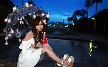ножки, волосы, лицо, лампочки, зонтик