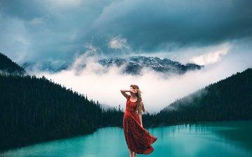 clouds, lake, forest, girl, dress, fog, mountain, model, lizzy gadd
