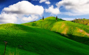the sky, clouds, trees, hills, green hills, blue sky