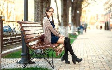 девушка, взгляд, очки, ножки, лицо, скамья, школьница, косички, eugen galyaev