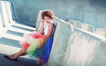 стиль, девушка, город, взгляд, очки, юбка, модель, волосы, лицо, макияж, kelly mccarthy, okelly mccarthy