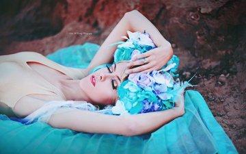 цветы, девушка, сон, модель, фея, макияж, боди, закрытые глаза, головной убор, kelly mccarthy, okelly mccarthy
