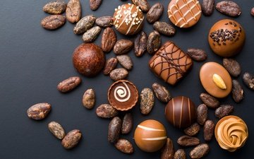 nuts, candy, sweets, chocolate, sweet, dessert, glaze, cuts, chocolates, cocoa beans