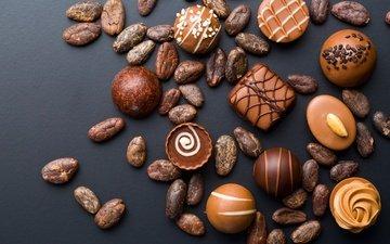 орехи, конфеты, сладости, шоколад, сладкое, десерт, глазурь, ассорти, шоколадные конфеты, какао бобы