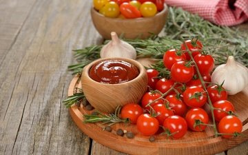 vegetables, tomatoes, garlic, spices, rosemary, cutting board, cherry