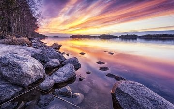 lake, stones, shore, sunset
