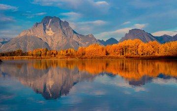 озеро, горы, лес, осень, сша, вайоминг, гранд -титон национальный парк, национальный парк гранд-титон