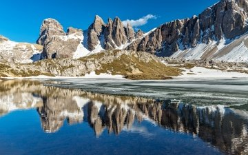 the sky, lake, mountains, snow, reflection, the dolomites
