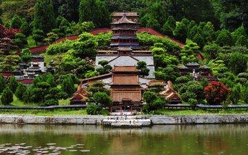 озеро, храм, пейзаж, китай, шэньчжэнь