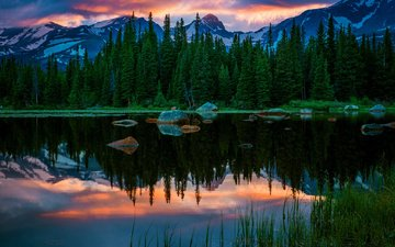 trees, lake, rocks, nature, forest, sunset, reflection, mountain, colorado