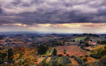 the sky, sunset, landscape, field, panorama, the view from the top, italy, tuscany, san gimignano