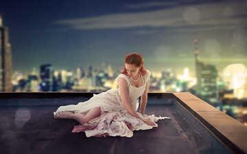 девушка, пейзаж, город, взгляд, волосы, лицо, крыша, белое платье, рыжеволосая, wayan sudarsana