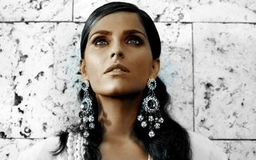 girl, brunette, look, hair, face, singer, earrings, nelly furtado