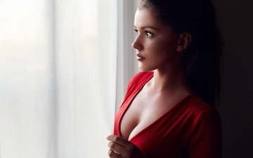 dress, brunette, profile, makeup, hairstyle, in red, is, window, mikkel laumann