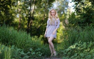 лес, платье, блондинка, лето, модель, ножки, даша, мурат кужахметов