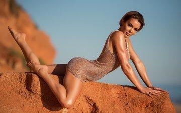 girl, dress, pose, look, model, stone, feet, hair, face, rosie robinson