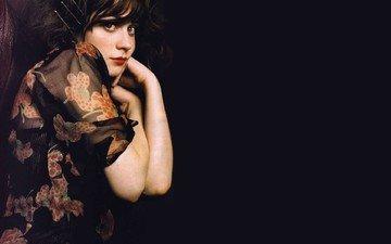 girl, dress, look, hair, black background, face, actress, zooey deschanel