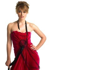 girl, dress, look, hair, face, white background, keira knightley
