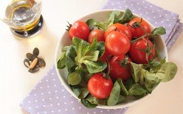 зелень, овощи, помидоры, томаты, салат