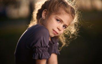 portrait, look, children, girl, hair, face, child, bokeh