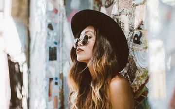 девушка, портрет, взгляд, очки, волосы, лицо, шляпа, азиатка, rie
