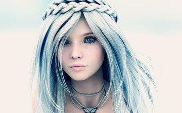 глаза, девушка, портрет, взгляд, модель, лицо, синие волосы, 3д