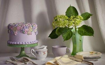 цветы, посуда, сладкое, торт, десерт, гортензия