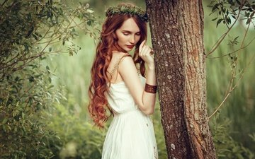 nature, tree, girl, mood, red, curls, wreath, long-haired, sundress