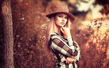 природа, девушка, блондинка, взгляд, шляпа, боке, lods franck