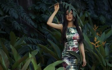 nature, girl, dress, look, hair, face, jungle, elly