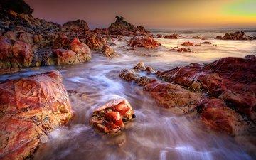 скалы, природа, камни, закат, пейзаж, побережье, океан