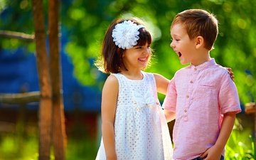 природа, лето, дети, радость, девочка, мальчик, друзья, смех