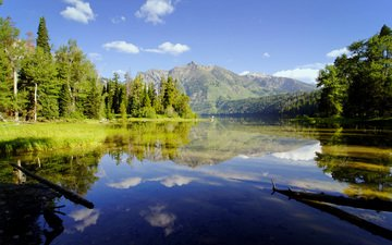 the sky, trees, river, mountains, nature, reflection, lake