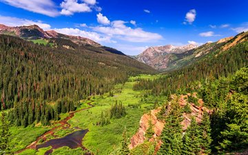 the sky, clouds, trees, mountains, rocks, nature, landscape, stream, usa, valley, colorado
