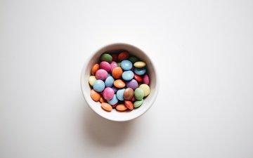 разноцветные, конфеты, много, драже
