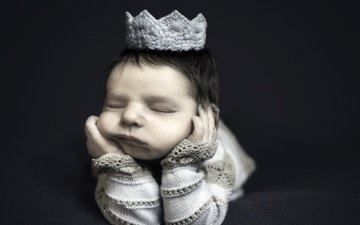 sleep, black background, face, child, baby, crown, closed eyes