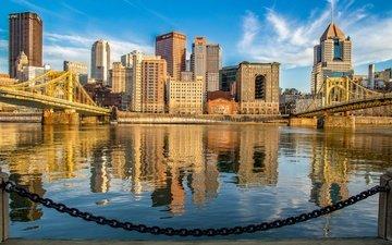 река, набережная, здания, цепь, пенсильвания, мосты, питтсбург, река мононгахила