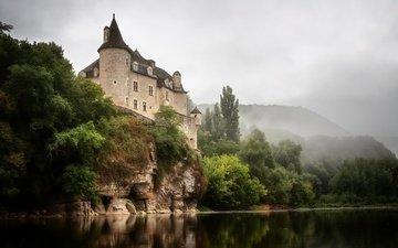 река, скала, замок, франция, шато де ла трен
