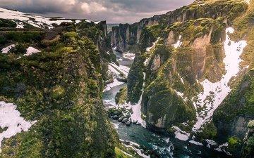 река, скалы, снег, исландия, vestur-skaftafellssysla