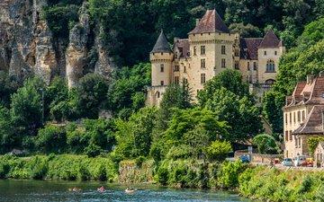 река, скалы, замок, франция, la roque gageac, ла-рок-гажак