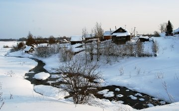 river, snow, winter, the bushes, village, home, house