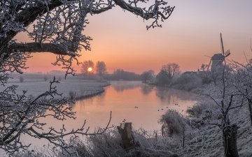 trees, river, snow, sunset, winter, frost, mill