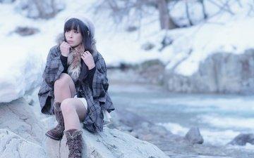река, зима, девушка, брюнетка, модель, камень, японка, азиатка