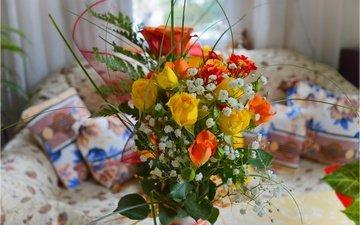 цветы, розы, комната, букет, гипсофила
