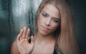 рука, девушка, настроение, капли, окно, стекло